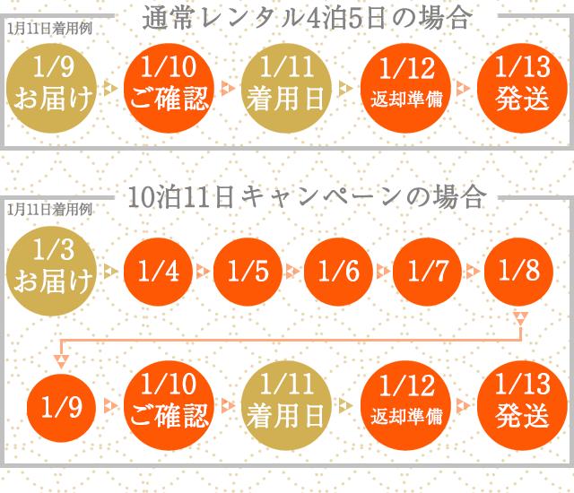 2021年1月成人式期間限定10拍11日レンタルの例